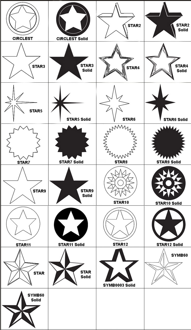 Star engraving images available for engraving on any of our engraved gifts or awards.