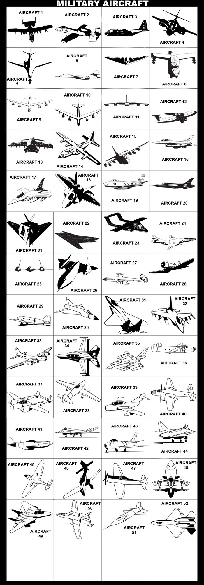 Air Force, A-10, AC-130H, B-1, B-2A, B-52, B-5A, C-17, C-130, F-16, F-22. F-86F, F-105D, F-117, OV-10, RF-101, SR-71, FH-250, Plane, Jet, Airplane, Aviation