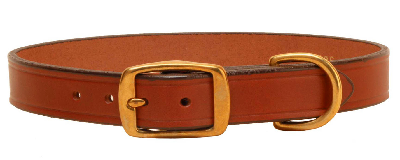 Flat English bridle leather dog collar with solid brass hardware.