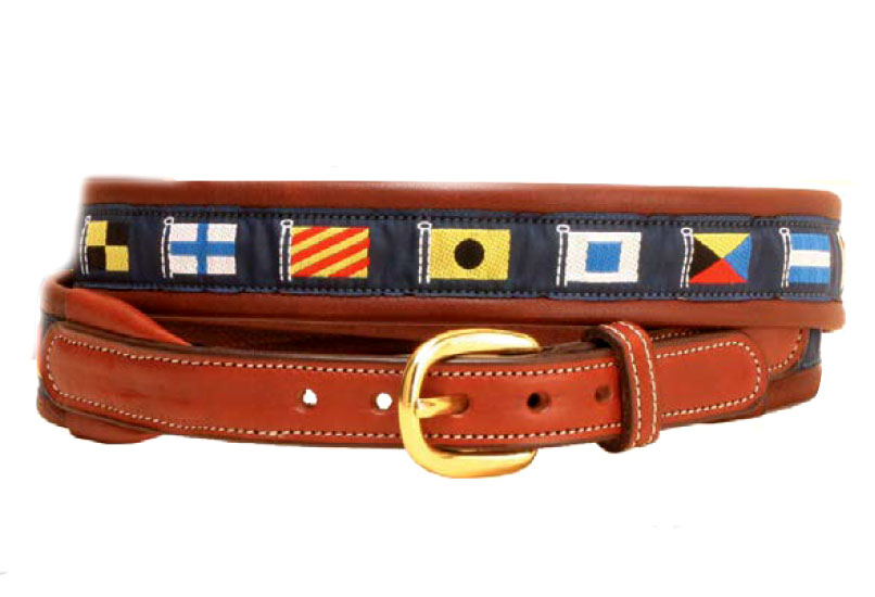 Padded nautical ribbon belt with leather billets. Makes a great nautical themed gift.