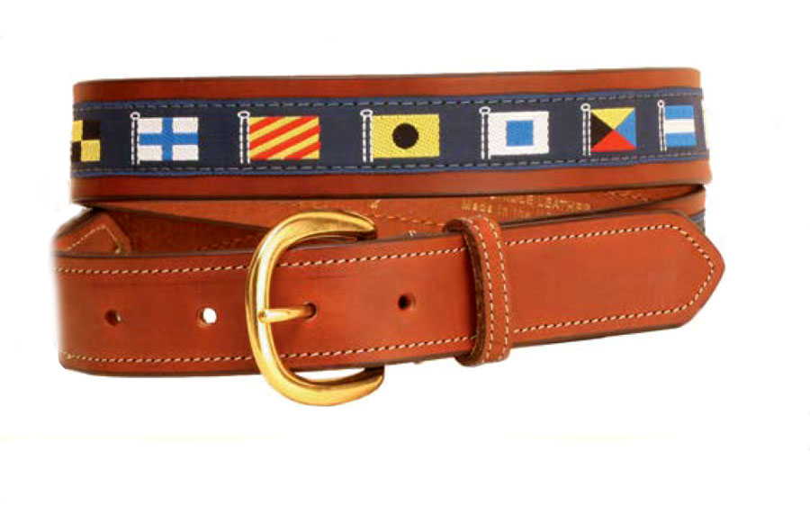 Brass rivet nautical ribbon belt with leather billets. Makes a great nautical themed gift.