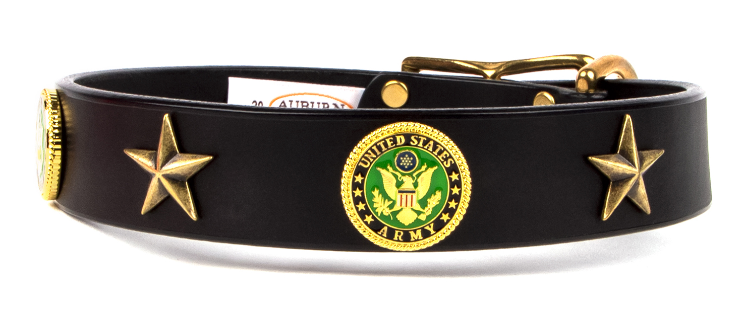 Military emblem leather dog collar that has a United States Army emblem. Great gift for a someone in the Army that loves dogs.
