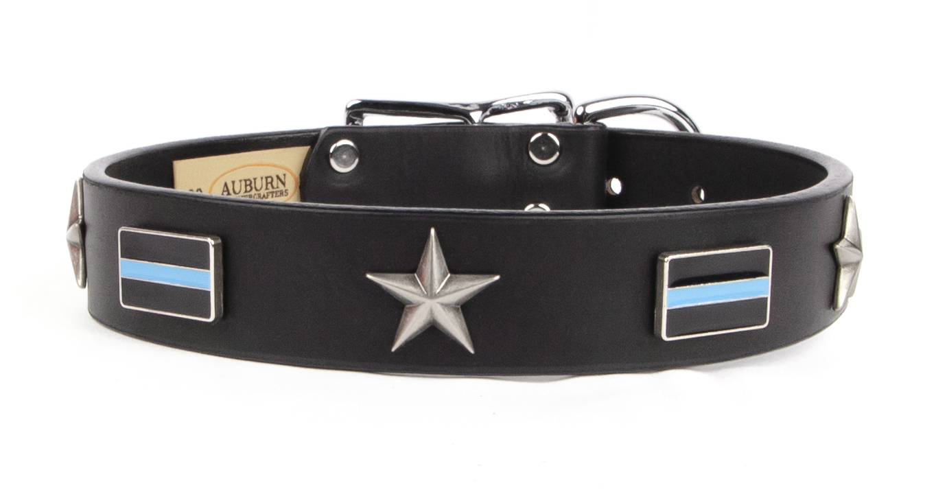 Thin Blue Line emblem and star leather dog collar. Great gift for a friend or loved one in law enforcement that loves dogs.