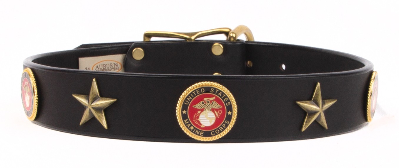Military emblem leather dog collar that has a United States Marine Corps emblem.