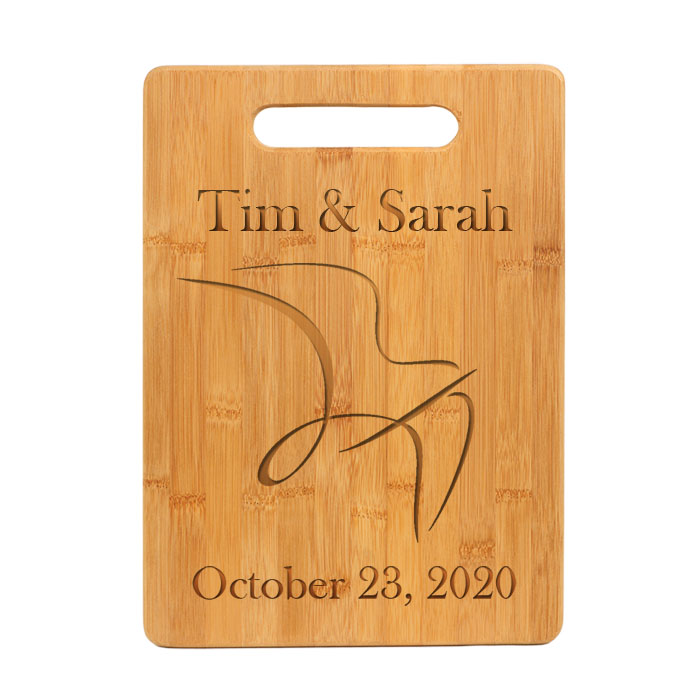 Personalized Bamboo Cutting Board with Engraved Bird Design 2.