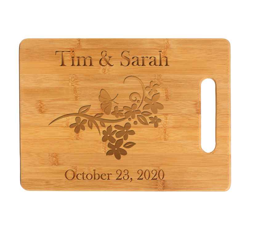 Custom Engraved Bamboo Cutting Board with Butterfly Design.