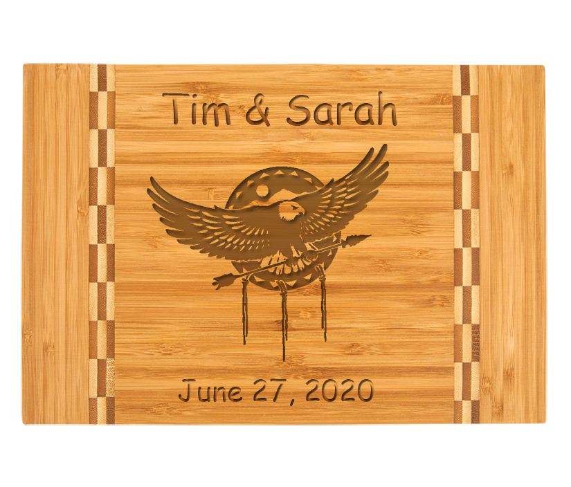Personalized Bamboo Cutting Board with Engraved Eagle Design.