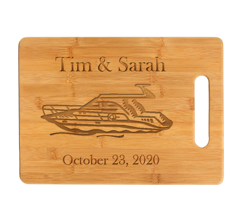 Custom Engraved Bamboo Cutting Board with Boat Design