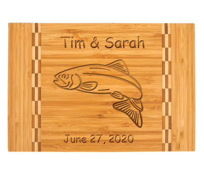 Custom Engraved Bamboo Cutting Board with Marine Life 2.