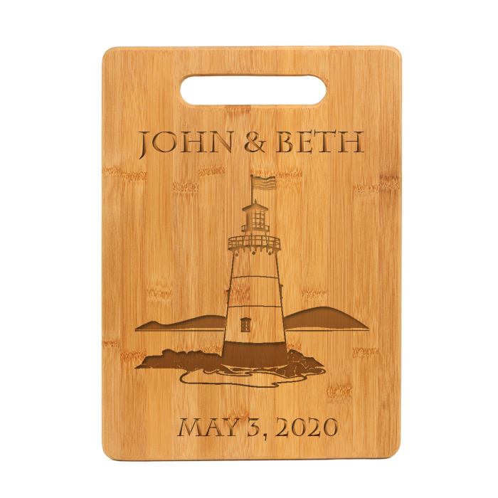 Personalized Bamboo Cutting Board with Engraved Nautical Design.