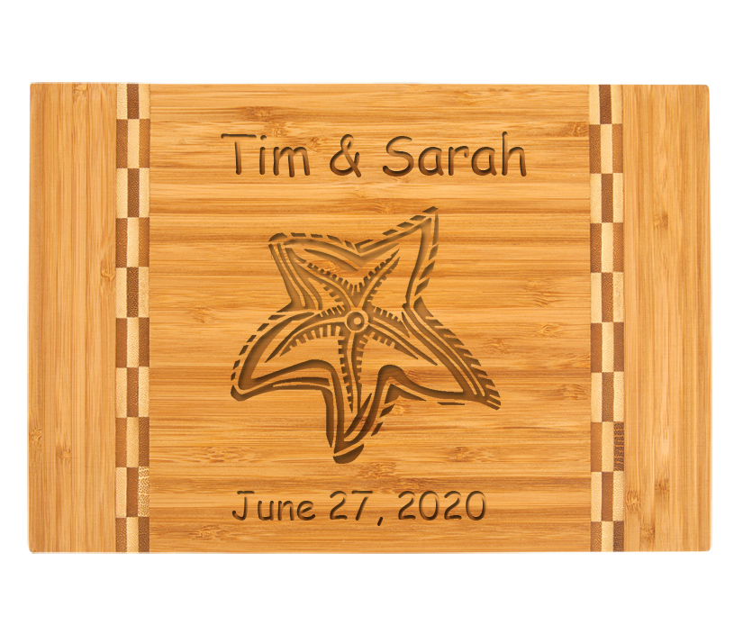 Personalized Bamboo Cutting Board with Engraved Nautical Design 2.