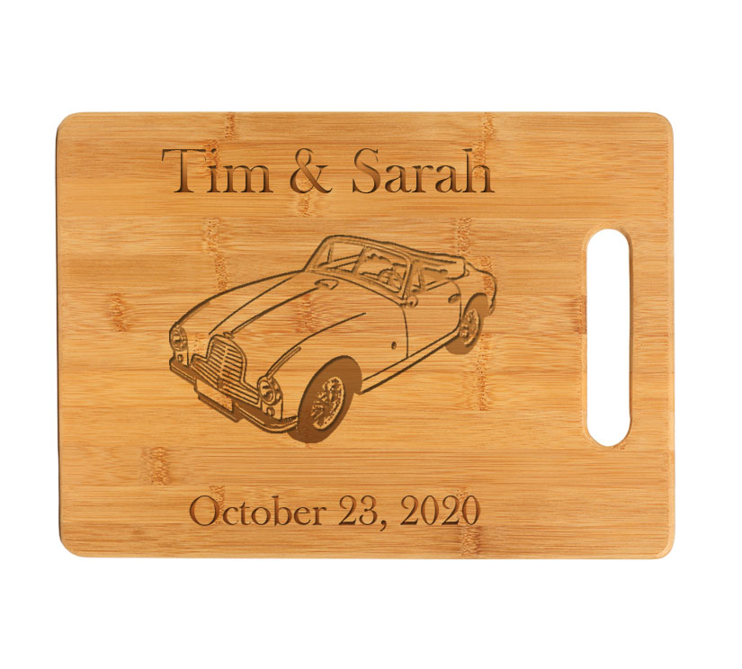 Personalized Bamboo Cutting Board with Engraved Automobile Design.