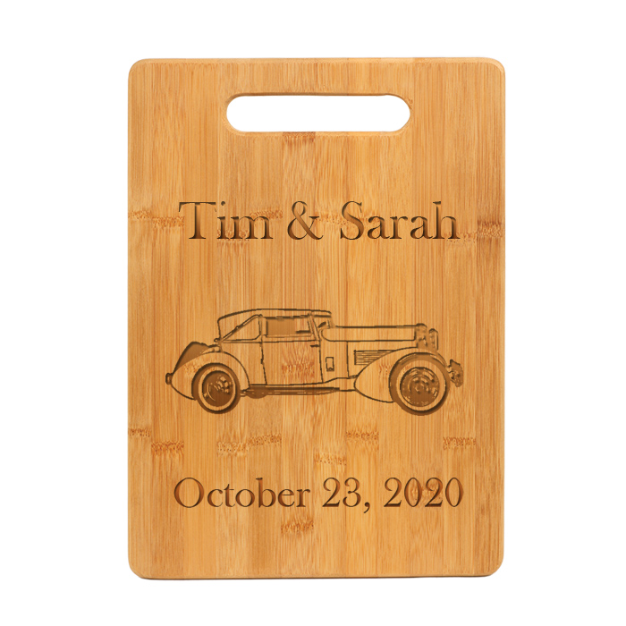 Custom engraved bamboo cutting board with engraved automobile design 2 of your choice.