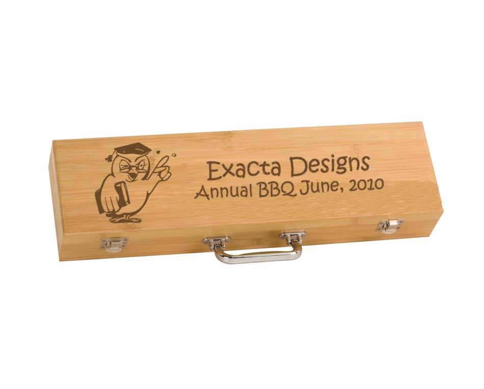 Custom engraved BBQ tools gift set with personalized text and the bird design 2 of your choice.