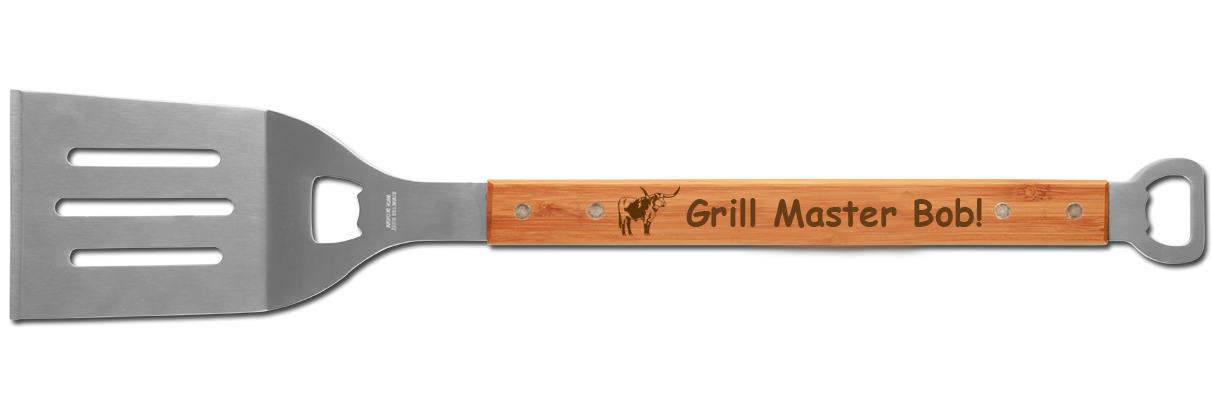 Custom engraved BBQ spatula and bottle opener with personalized text and the farm animal design of your choice.
