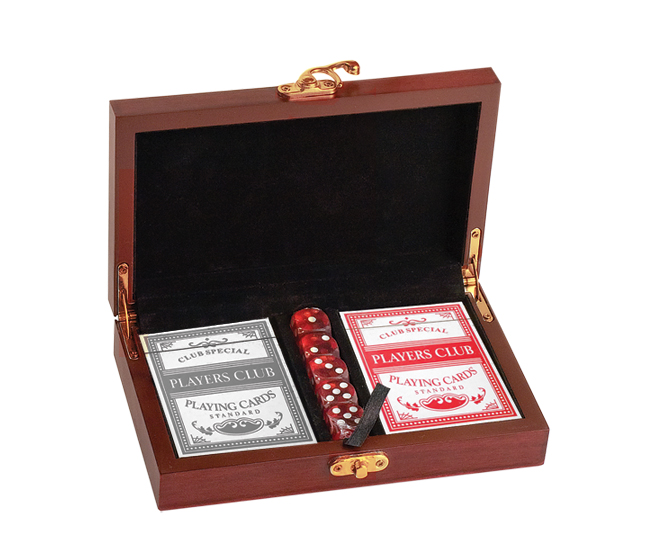 Custom engraved card & dice gift set with your choice of train design and personalized text.