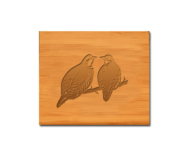 Custom engraved bamboo coasters and holder with bird design and personalized text of your choice.
