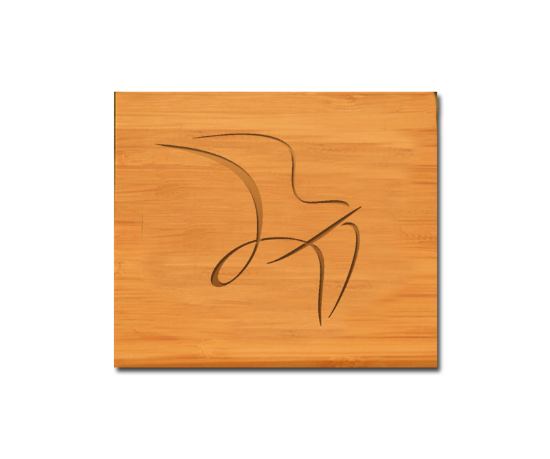 Bamboo coaster set with personalized engraved text and custom engraved bird design 2.