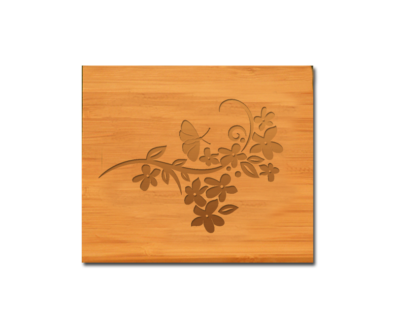 Custom engraved bamboo coasters and holder with butterfly design and personalized text of your choice.