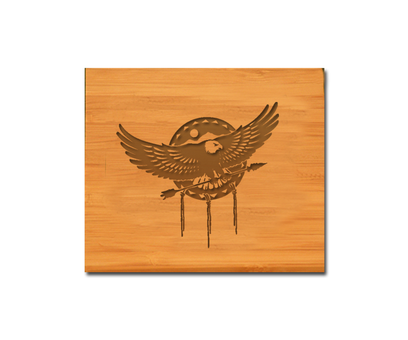 Bamboo coaster set with personalized engraved text and custom engraved eagle design.