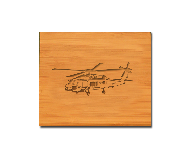Bamboo coaster set with personalized engraved text and custom engraved helicopter design.
