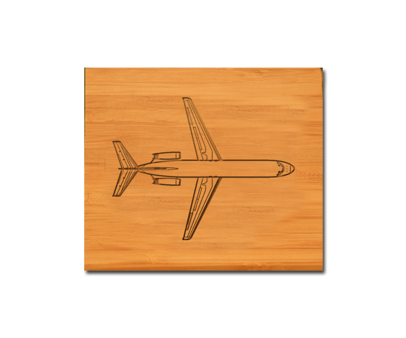 Custom engraved bamboo coasters and holder with jet design and personalized text of your choice.