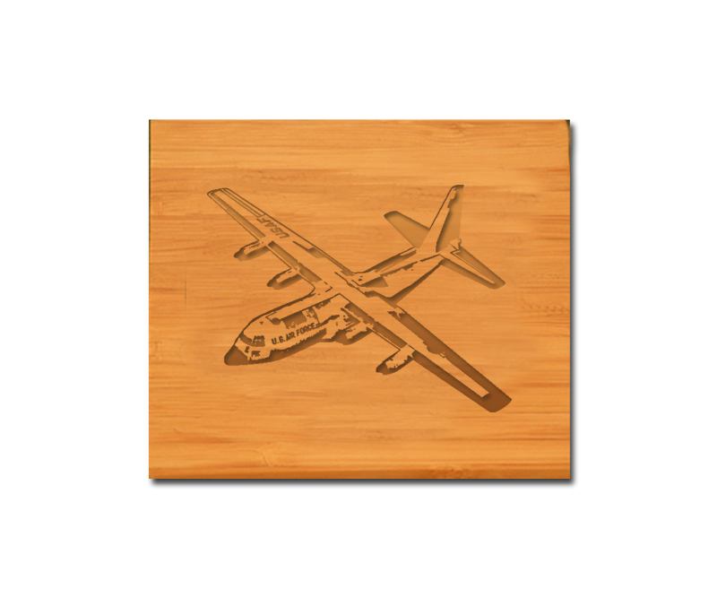 Bamboo coaster set with personalized engraved text and custom engraved military aircraft design.