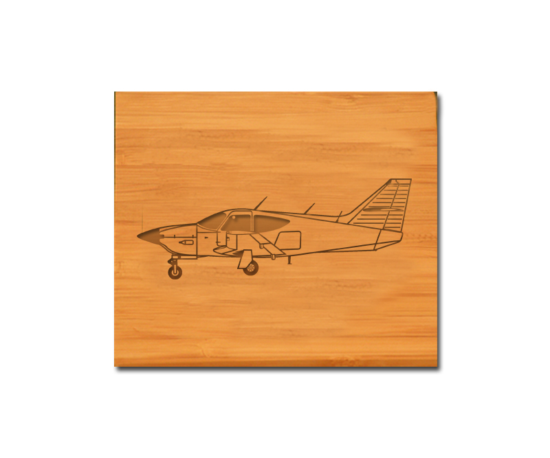 Custom engraved bamboo coasters and holder with plane design and personalized text of your choice.
