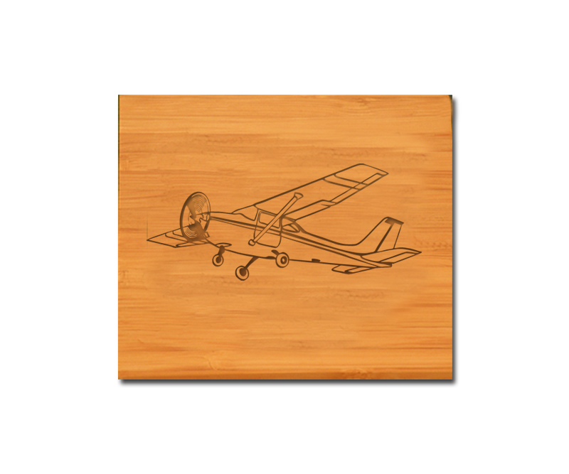 Bamboo coaster set with personalized engraved text and custom engraved plane design 2.