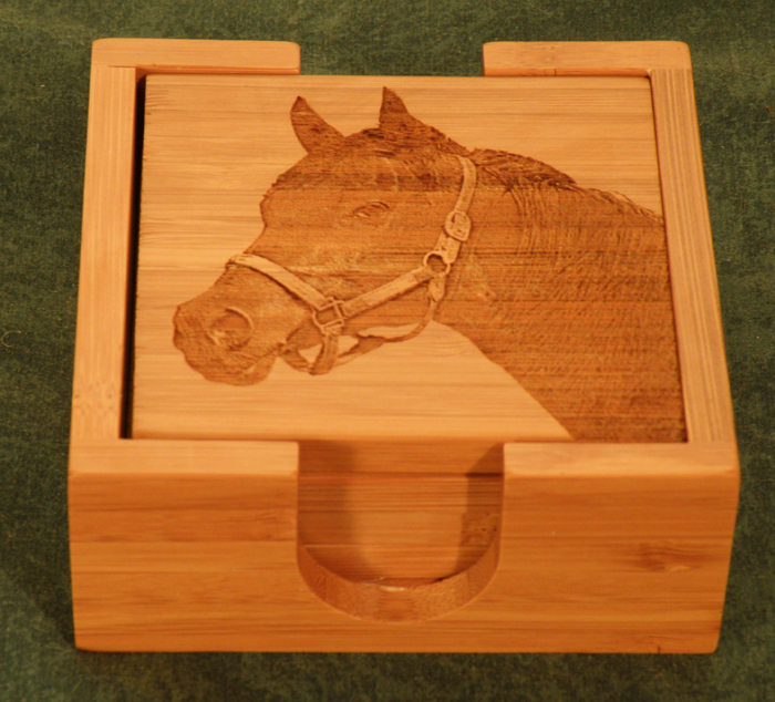 Bamboo Coasters & Holder w/ Engraved Picture