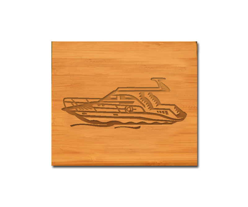 Custom engraved bamboo coasters and holder with boat design and personalized text of your choice.