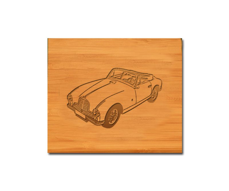 Custom engraved bamboo coasters and holder with automobile design and personalized text of your choice.