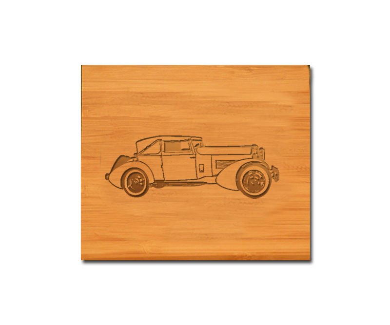 Bamboo coaster set with personalized engraved text and custom engraved automobile design 2.