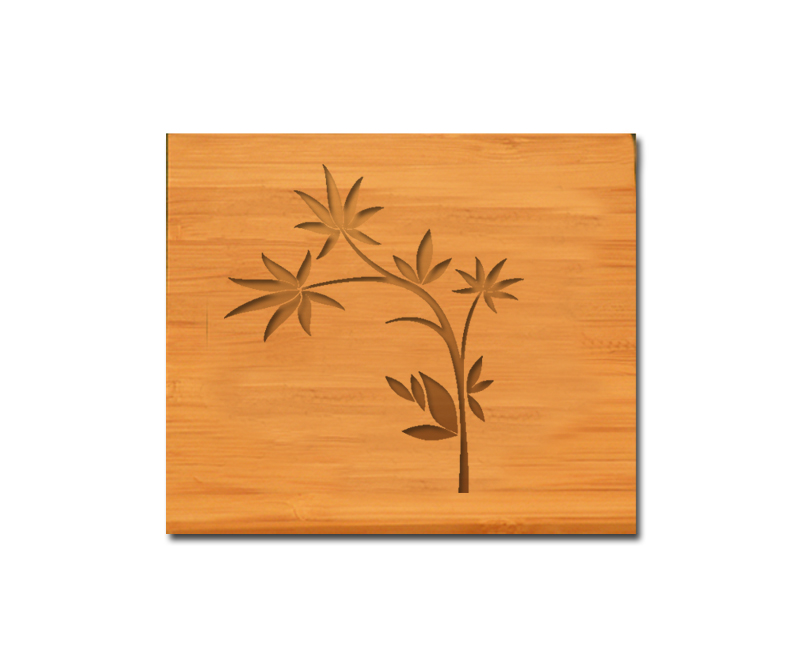 Custom engraved bamboo coasters and holder with flower design 2 and personalized text of your choice.