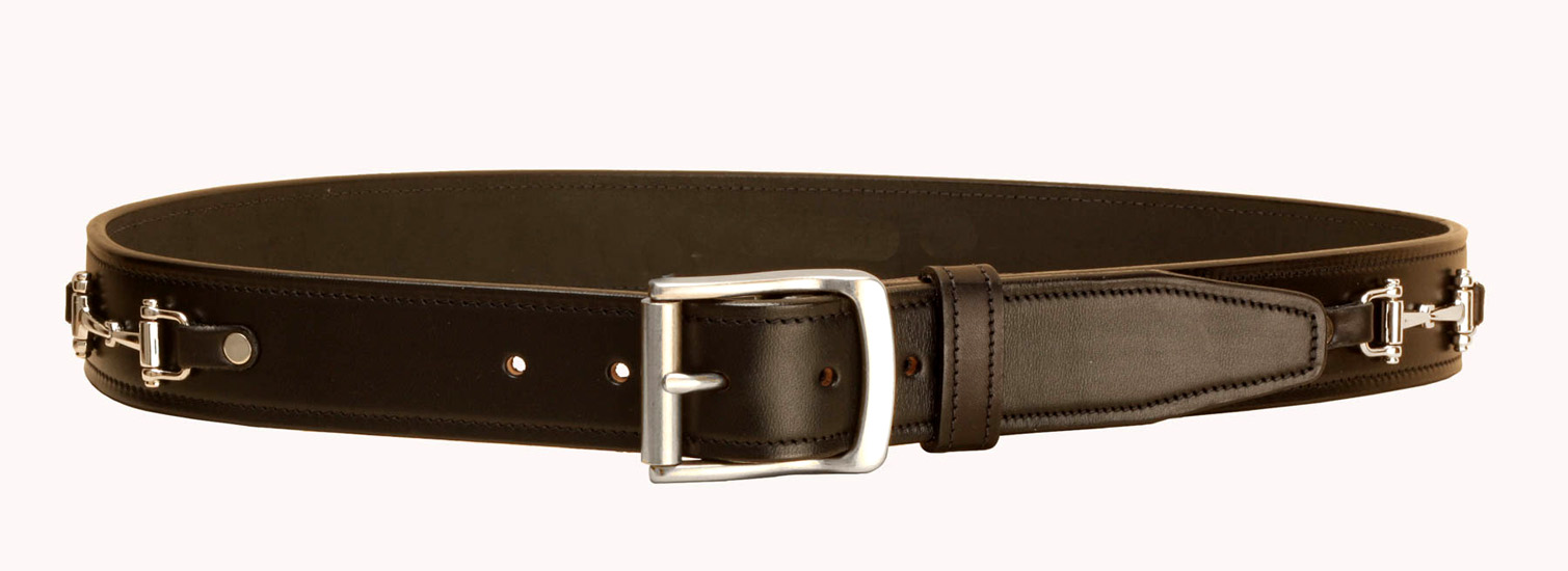 Equestrian leather belt with brass or silver snaffle dee bits.