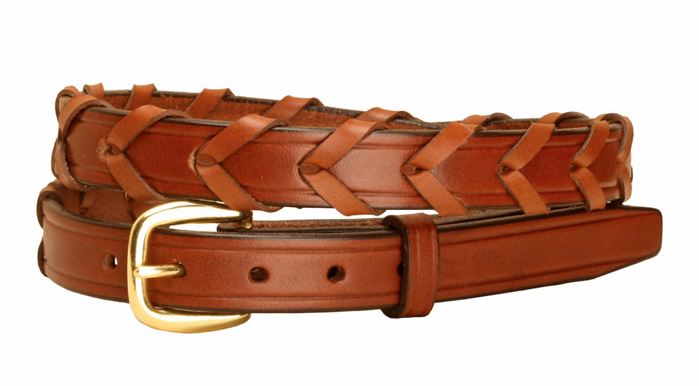 Black brass English bridle rein 3/4 inch wide leather belt.