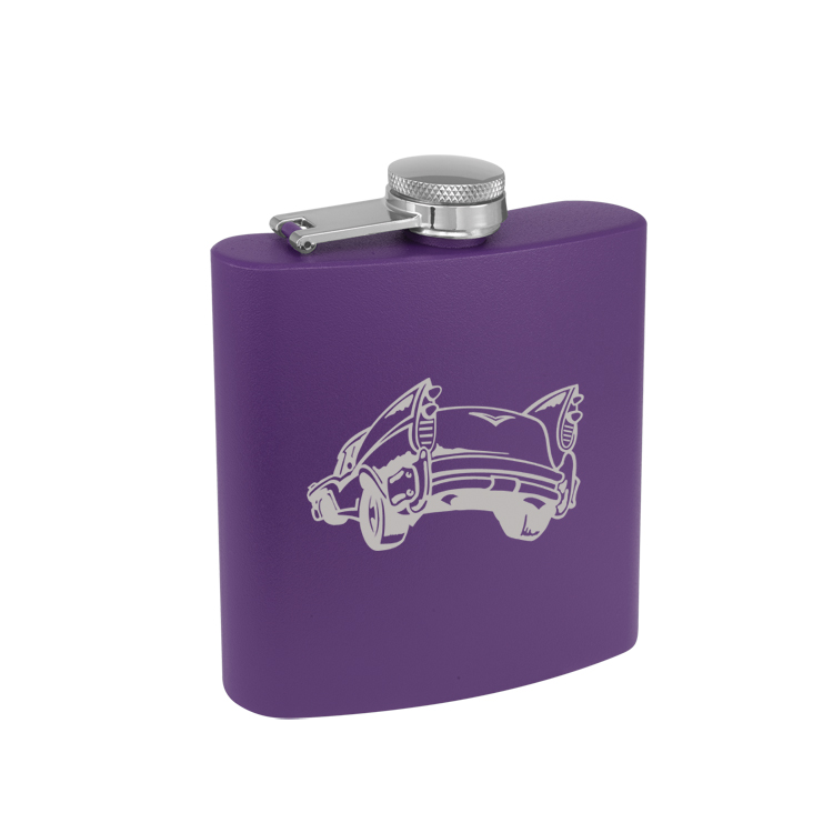 Custom engraved colored stainless steel 6 oz flask with engraved the automobile design of your choice.