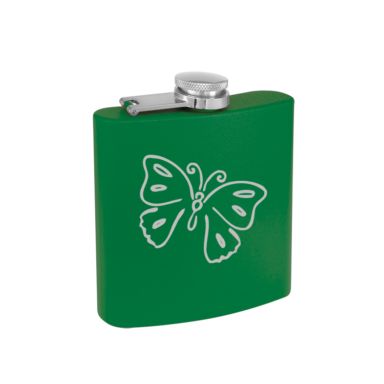 Colored Steel 6 oz Flask with Engraved Butterfly Design