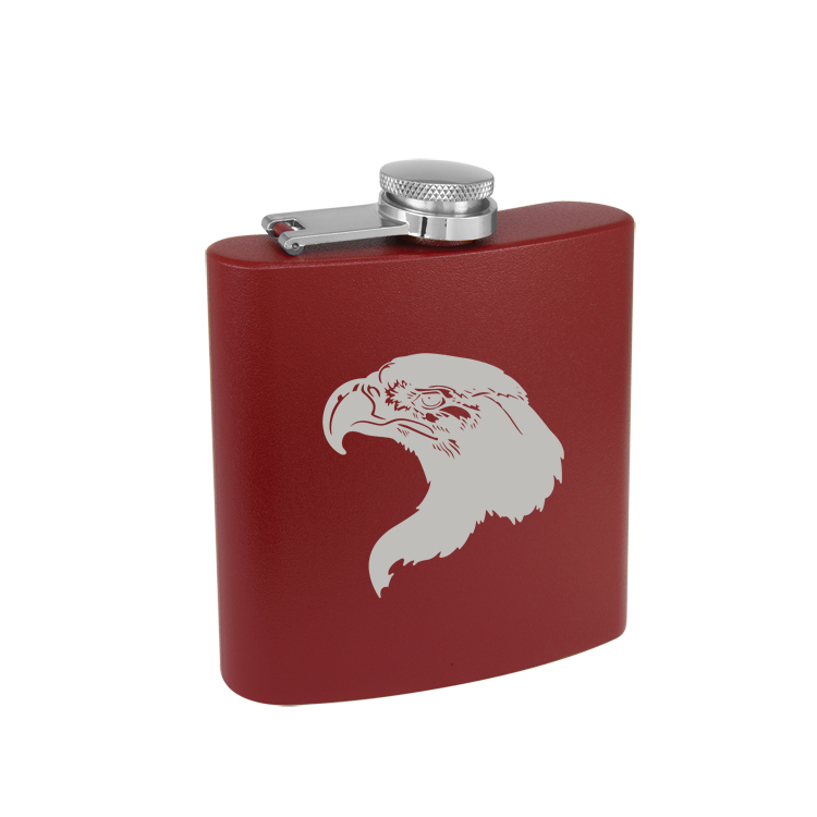 Colored Steel 6 oz Flask with Engraved Eagle Design