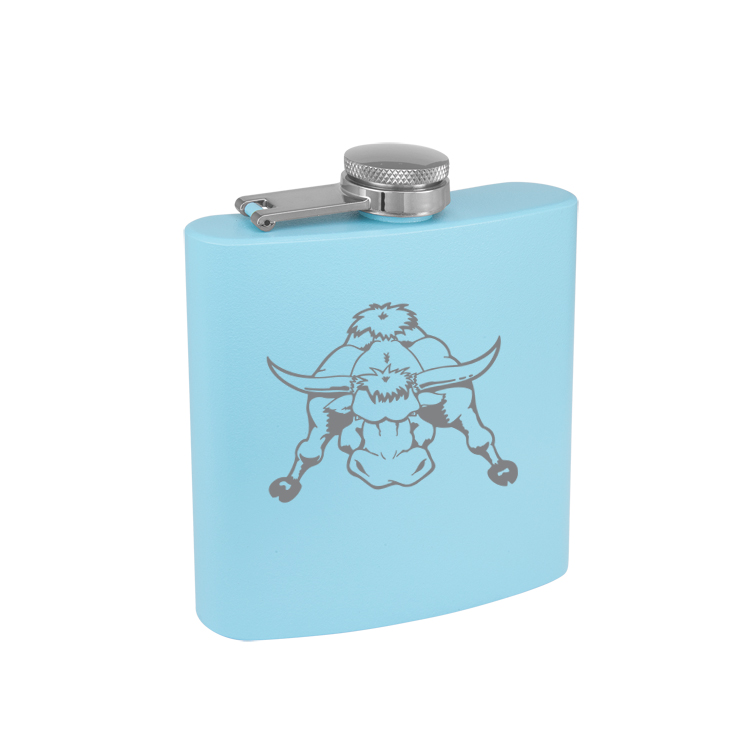 Colored Steel 6 oz Flask with Engraved Farm Animal Design