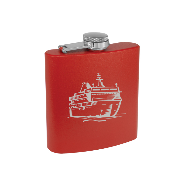 Colored Steel 6 oz Flask with Engraved Boat Design