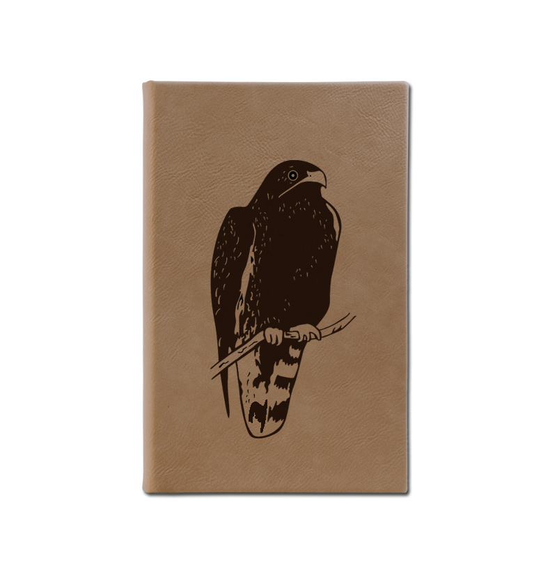 Personalized leatherette journal with custom engraved bird design and text.