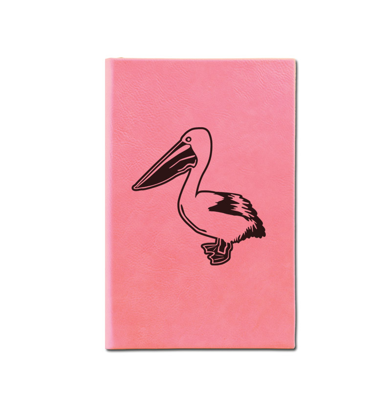Personalized leatherette journal with custom engraved bird design 2 and text.