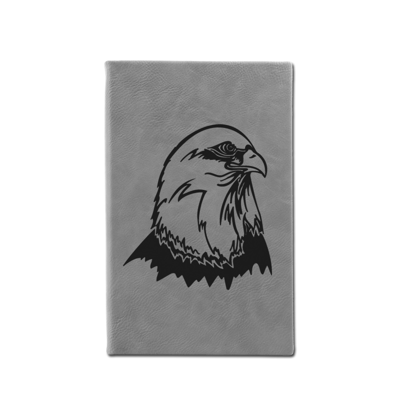 Custom engraved leatherette journal with eagle design and custom engraved text.