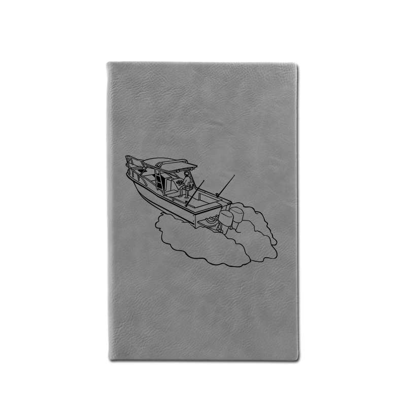 Custom engraved leatherette journal with boat design and custom engraved text.