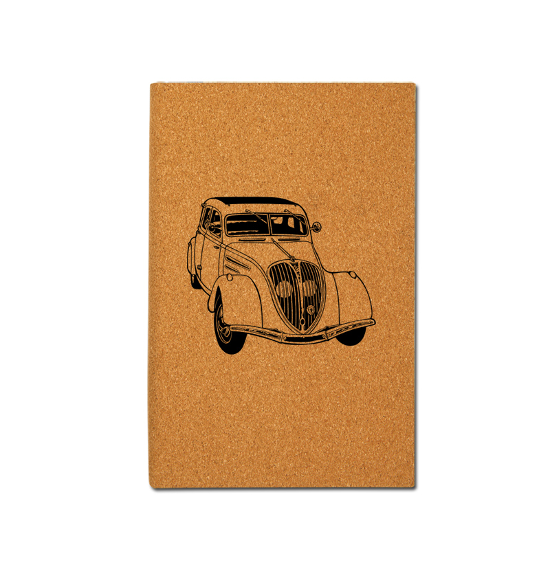 Personalized leatherette journal with custom engraved automobile design 2 and text.
