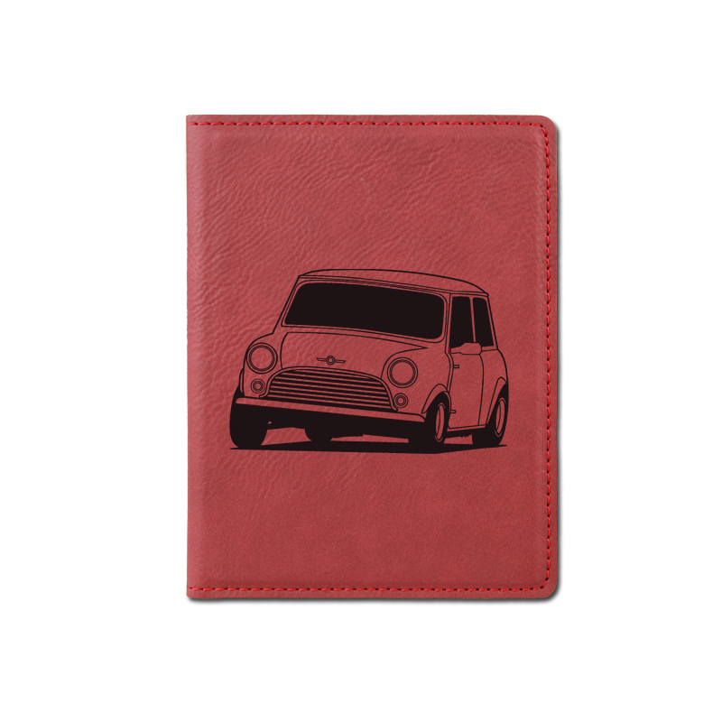 Custom engraved passport cover with your choice of automobile design and personalized text.