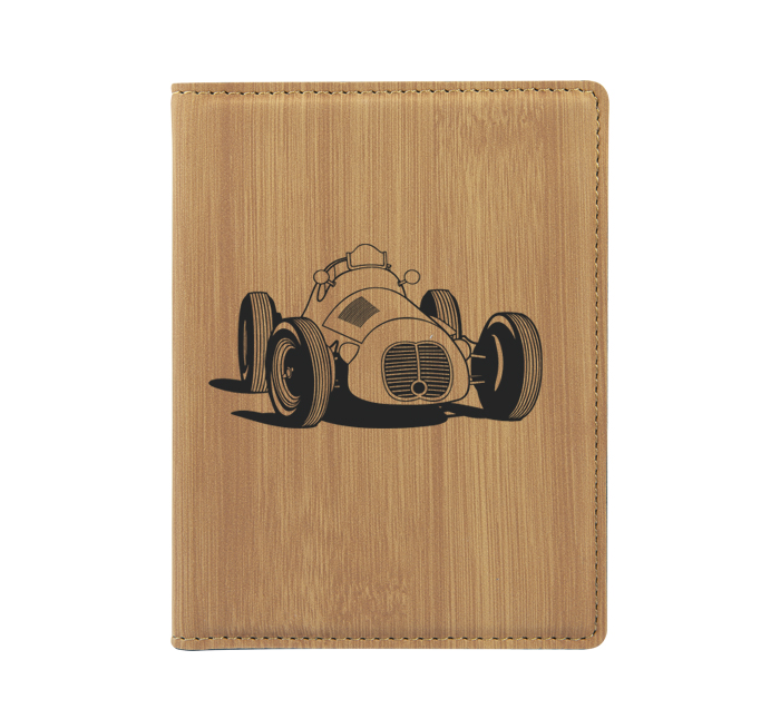 Personalized leatherette passport cover with custom engraved automobile design 2 and text.