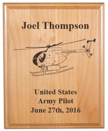 Personalized alder wood plaque with custom engraved helicopter design and text.