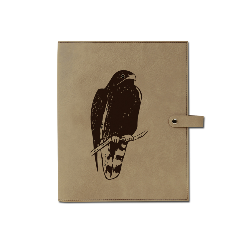Personalized leatherette book / bible cover with custom engraved bird design and text.